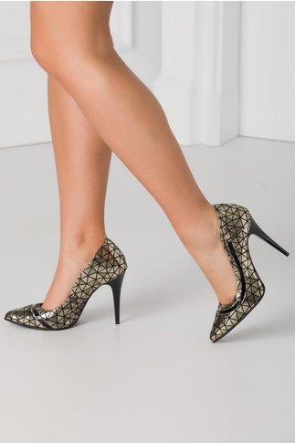 Pantofi stiletto bronz metalizat cu imprimeu geometric