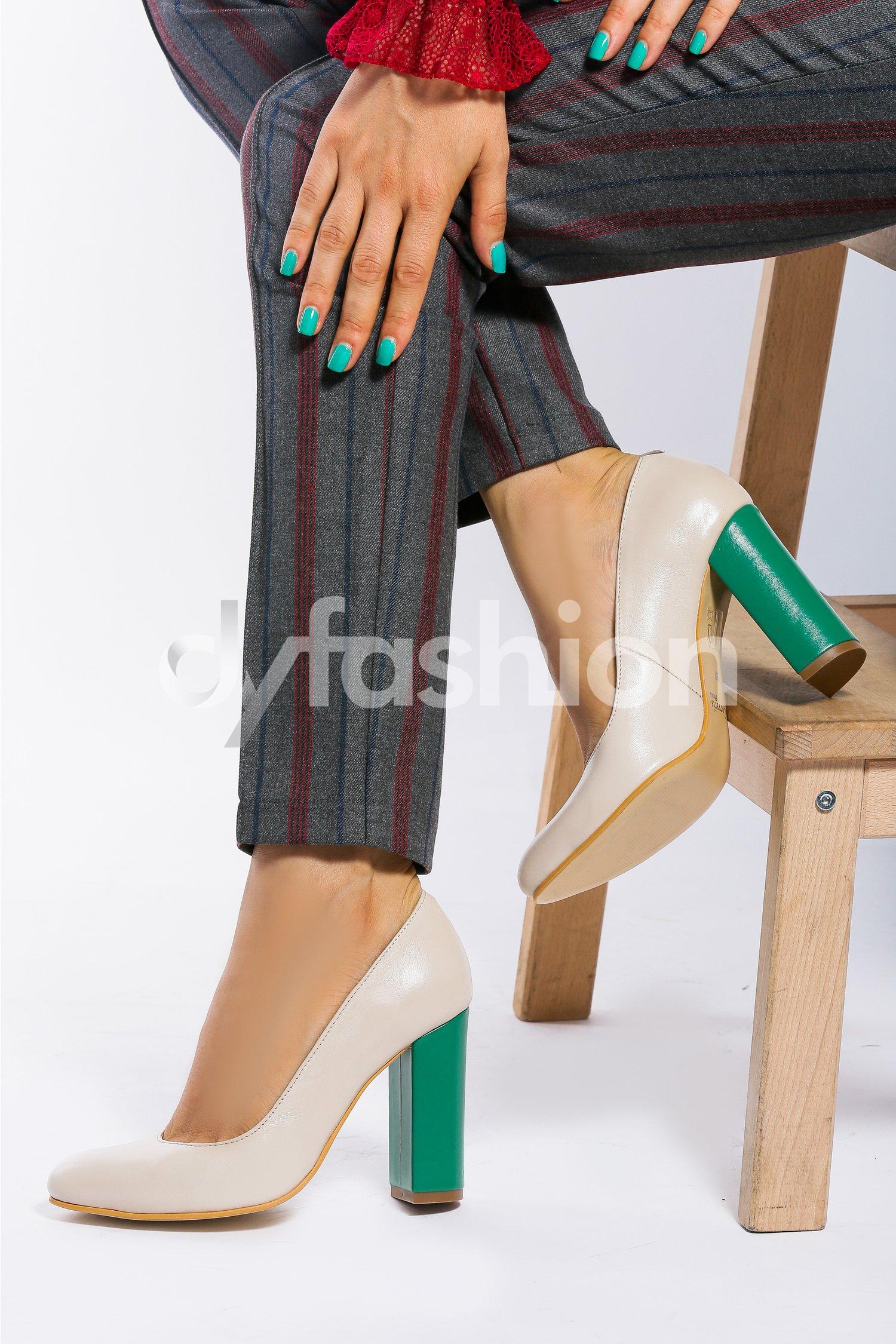Pantofi Stiletto Crem cu Toc Verde