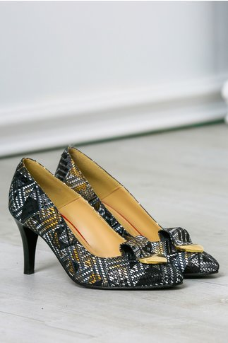 Pantofi stiletto de ocazie cu imprimeu auriu