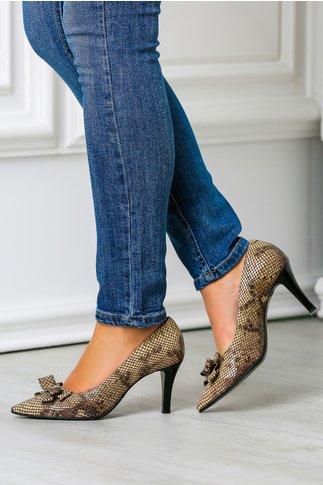 Pantofi stiletto maro cu funda din piele naturala