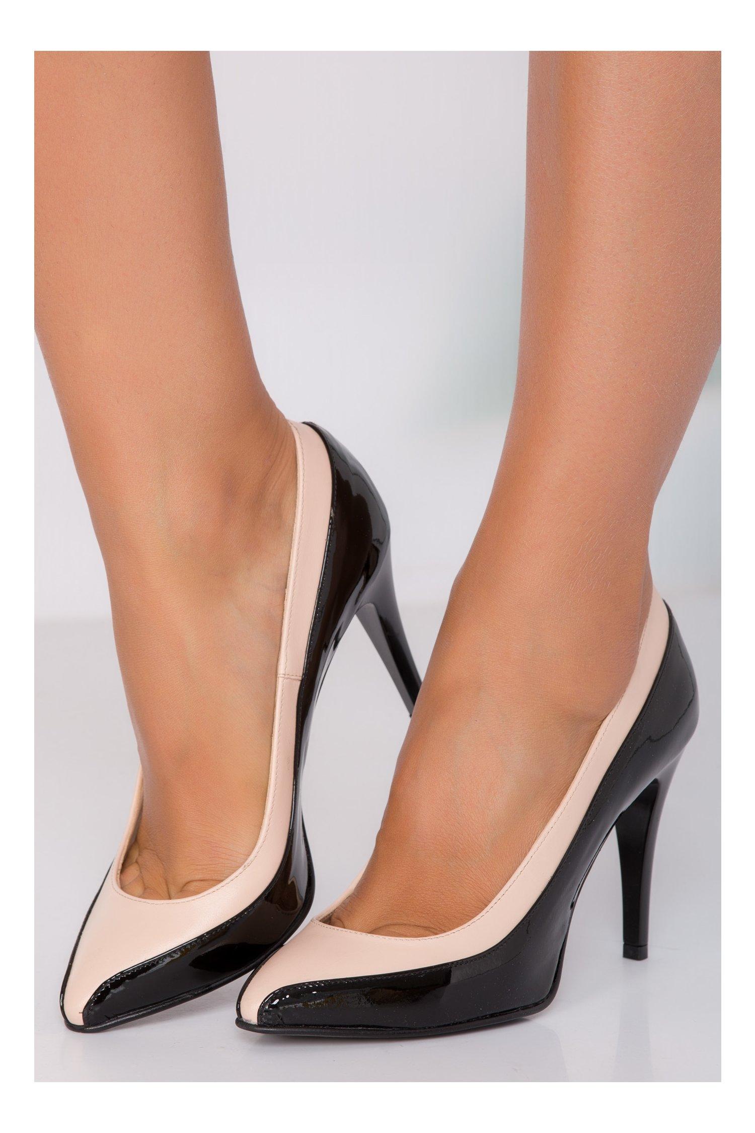 Pantofi stiletto negri cu bej din piele