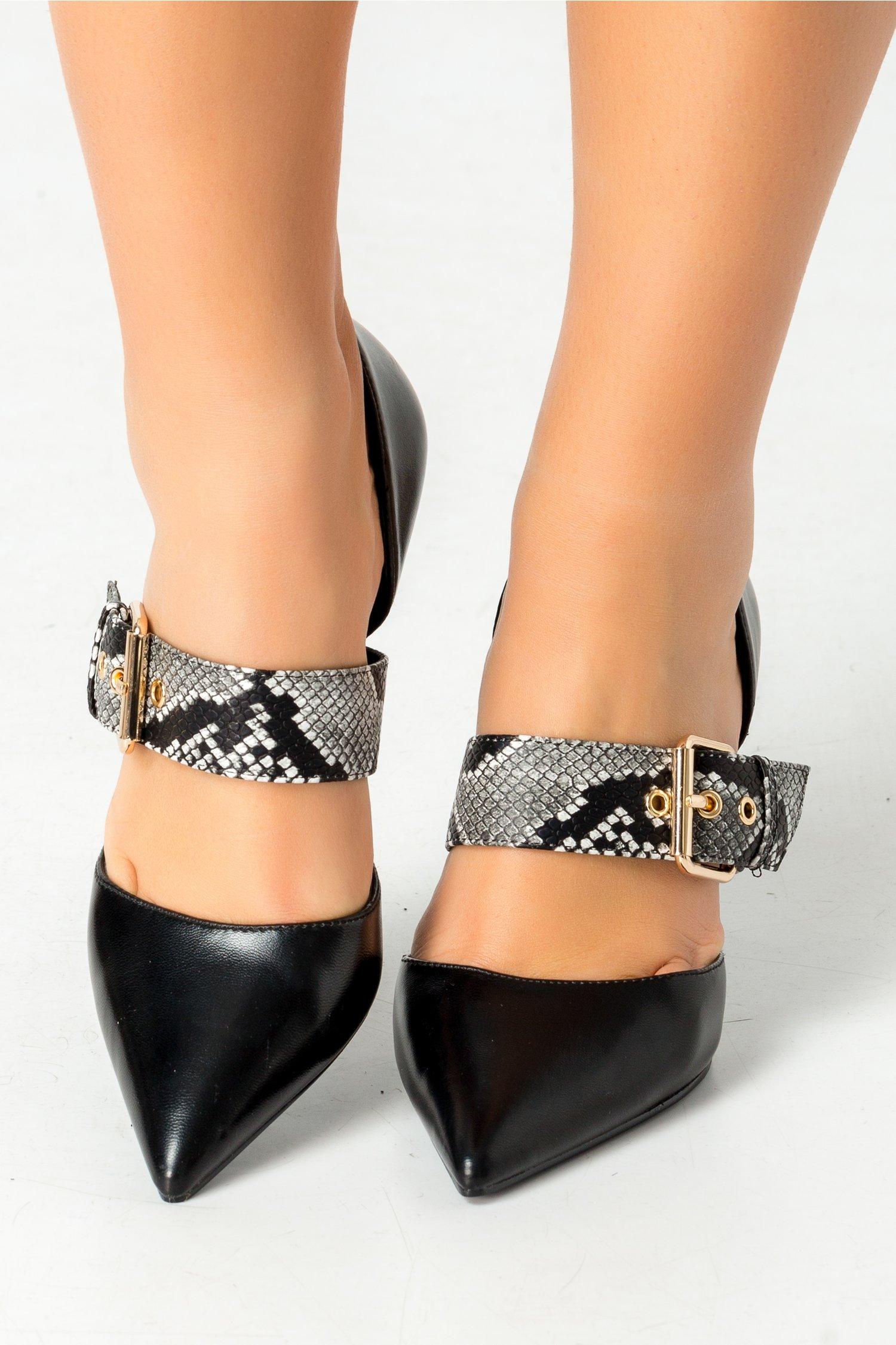 Pantofi stiletto negri cu print piele de sarpe