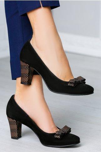 Pantofi Taisa negri cu toc imprimat auriu