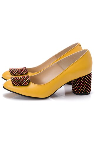 Pantofi Tanya galbeni cu aplicatie pe varf si toc gros cu buline 3D portocalii