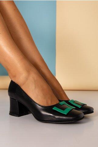 Pantofi Tanya negri cu aplicatie verde pe varf si toc gros