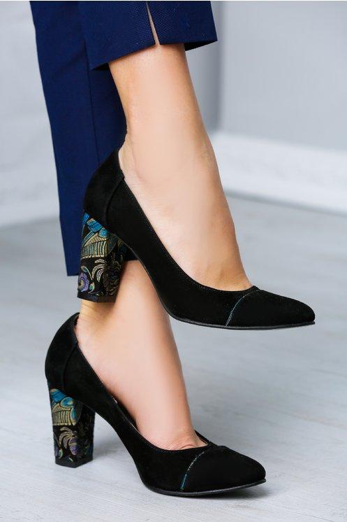 Pantofi Tina negri cu toc imprimat elegant