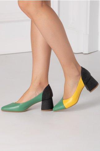 Pantofi verde cu galben cu toc jos negru