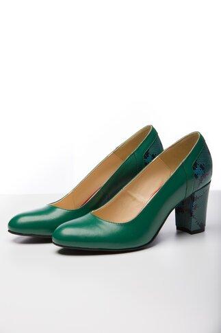 Pantofi verde cu imprimeu geometric la spate si pe toc