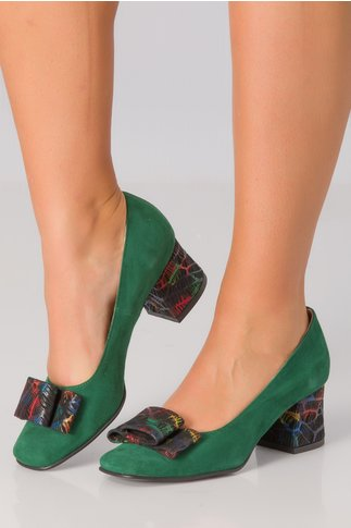 Pantofi verzi cu imprimeu tip nervuri de frunze pe toc si fundita