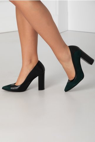 Pantofi verzi cu negru pe lateral