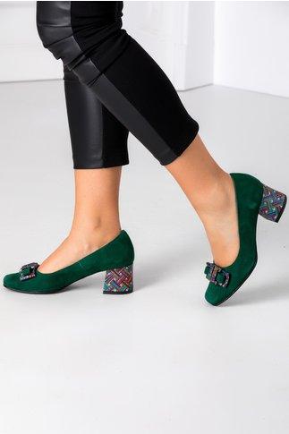 Pantofi verzi din piele intoarsa cu imprimeu divers