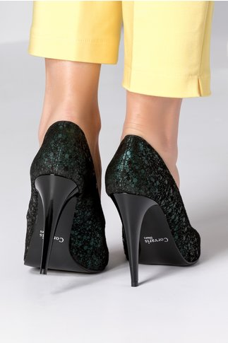 Pantofi verzi eleganti cu toc inalt stiletto