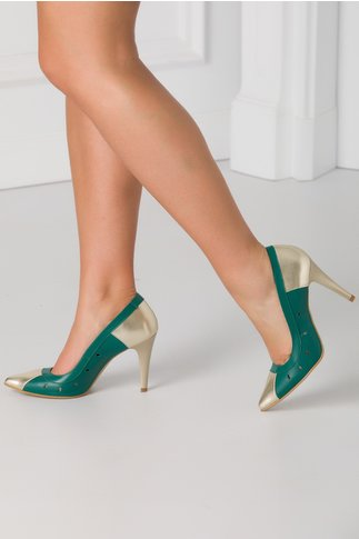 Pantofi verzi stiletto cu decupaje in forma de lacrima pe laterale