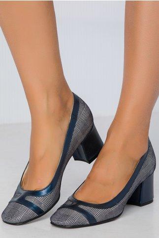 Pantofi Xya bleumarin cu imprimeu si toc jos