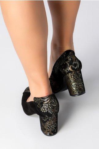 Pantofi Greenary negri cu motive florale bronz