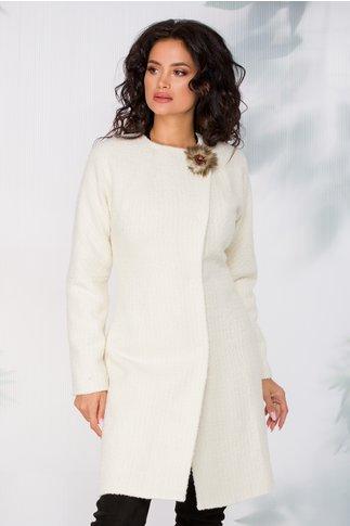 Pardesiu Ginette alb din lana