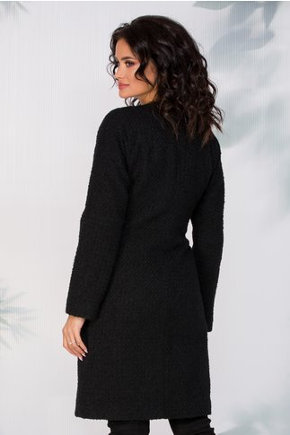 Pardesiu Ginette negru din lana