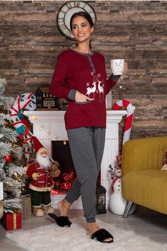 Pijama bordo cu reni si pantaloni gri