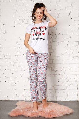 Pijama Bowtiful cu pantaloni gri si imprimeu
