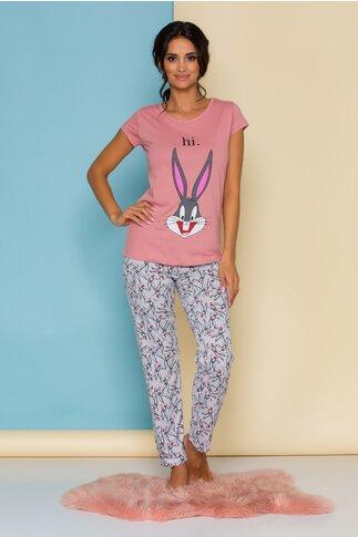 Pijama Bugs Bunny cu bluza roz si pantaloni gri cu imprimeuri