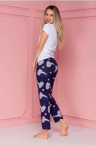Pijama Bunny cu tricou alb si pantaloni bleumarin