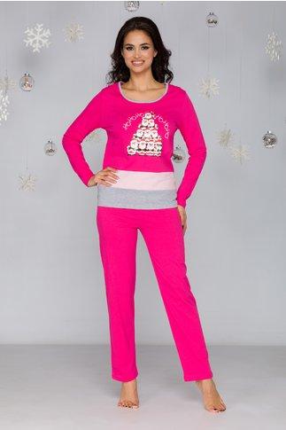 Pijama Christmas roz cu imprimeu Mos Craciun