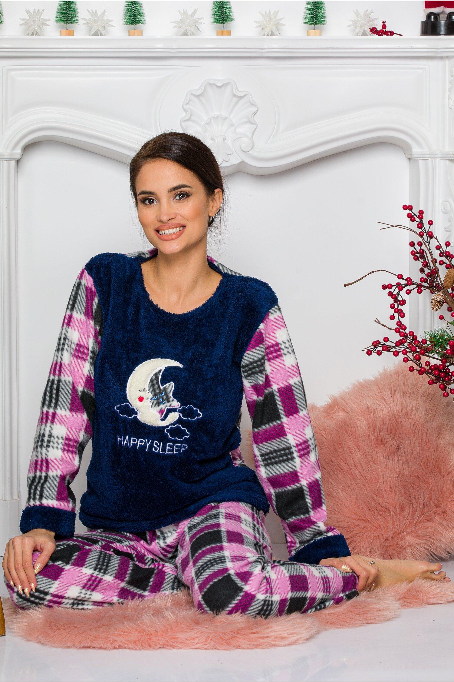 Pijama Cocolino cu bluza bleumarin si pantaloni cu carouri Idei Cadouri de Craciun Online