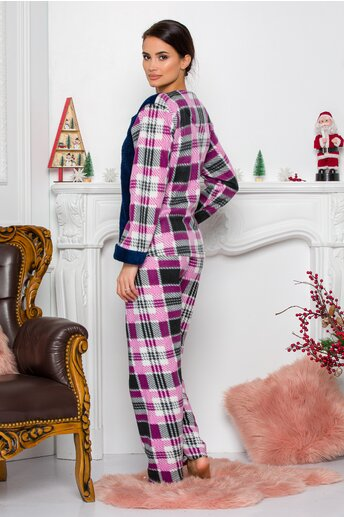 Pijama Cocolino cu bluza bleumarin si pantaloni cu carouri