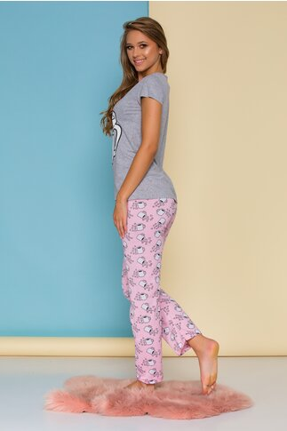 Pijama Coffee cu tricou gri si pantaloni roz