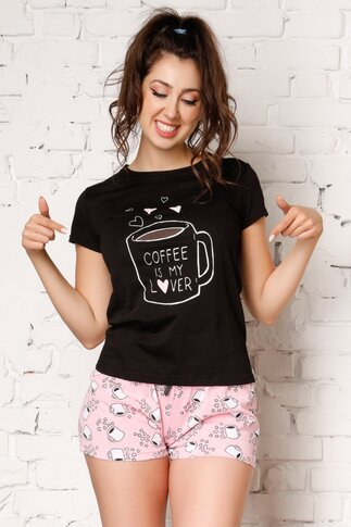 Pijama Coffee cu tricou negru si pantaloni scurti roz