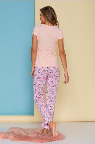 Pijama Coffee cu tricou somon si pantaloni roz