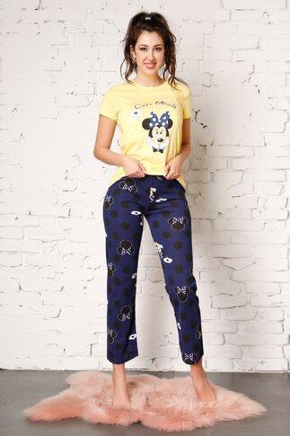 Pijama Cute Minnie cu pantaloni bleumarin si tricou galben