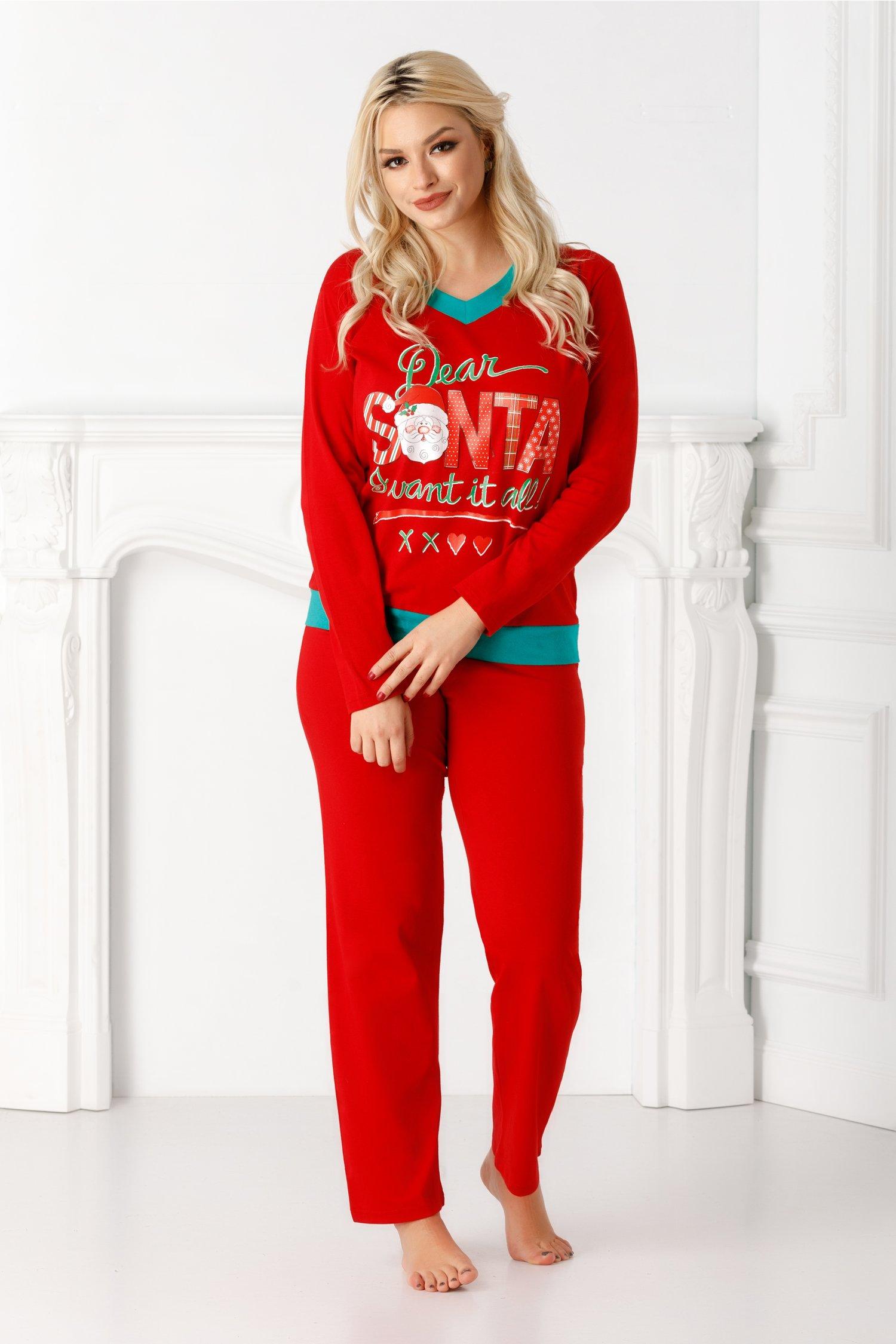 Pijama Dear Santa rosie cu imprimeu