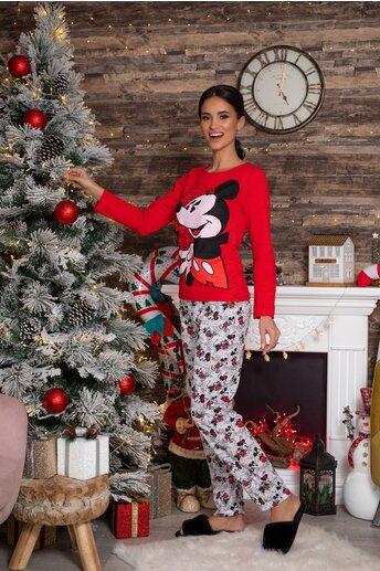 Pijama Disney cu bluza rosie si pantaloni albi cu imprimeu