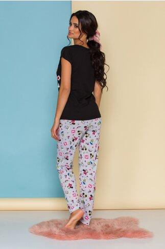 Pijama Disney cu tricou negru si pantaloni gri