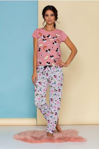 Pijama Disney cu tricou roz si pantaloni gri
