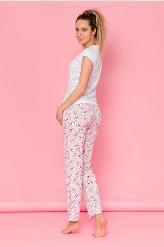 Pijama Eyes cu tricou alb si pantaloni roz