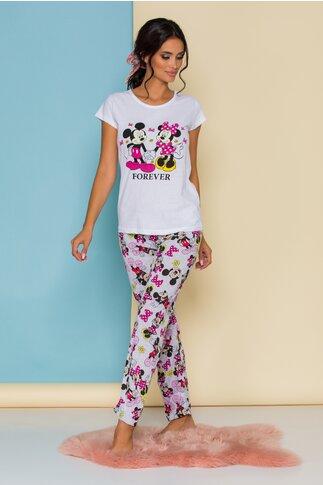 Pijama Forever Love cu tricou alb si pantaloni gri