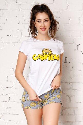Pijama Garfield cu tricou alb si pantaloni cu dungi albastre