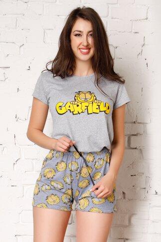 Pijama Garfield cu tricou gri si pantaloni cu dungi albastre