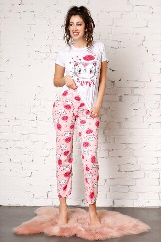 Pijama Good Night cu pisici si pantaloni roz