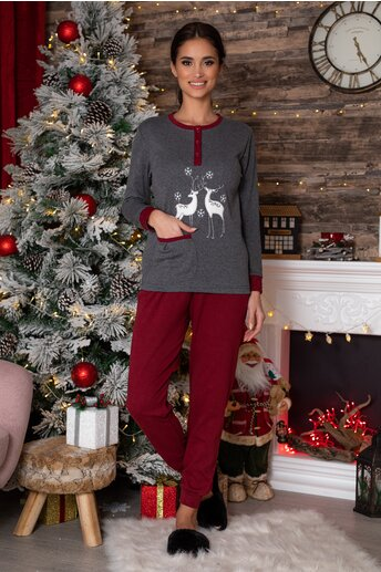 Pijama gri cu reni si pantaloni bordo