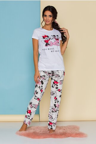Pijama Happy Disney Friends alba cu imprimeu