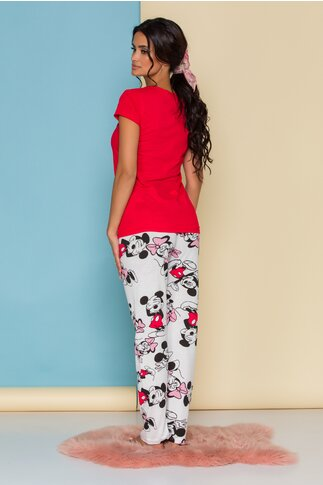 Pijama Happy Disney Friends cu tricou rosu si pantaloni albi cu imprimeu