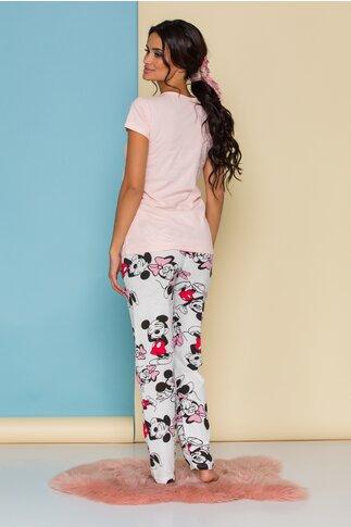 Pijama Happy Disney Friends cu tricou roz somon si pantaloni albi cu imprimeu