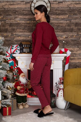 Pijama Hello Winter bordo cu imprimeu
