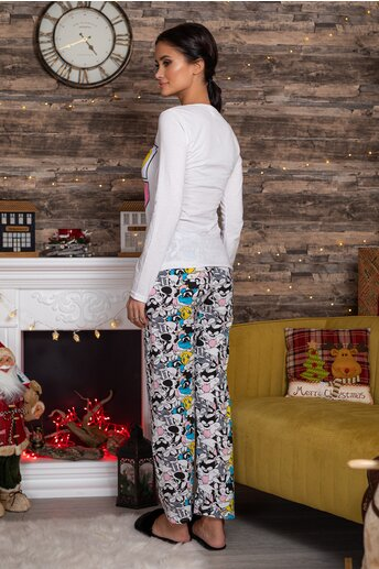 Pijama Looney Tunes cu bluza alba si pantaloni cu imprimeu