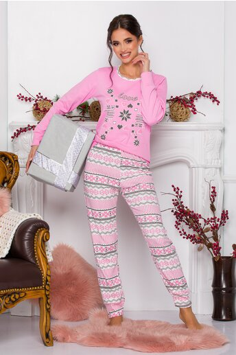 Pijama Love roz cu imprimeuri diverse
