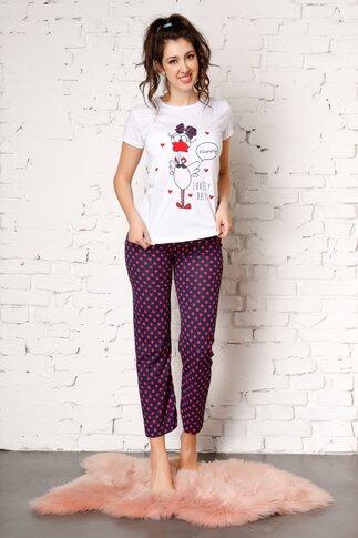 Pijama Lovely cu pantaloni bleumarin si buline rosii