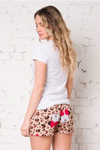 Pijama Minnie cu tricou alb si pantaloni scurti cu animal print